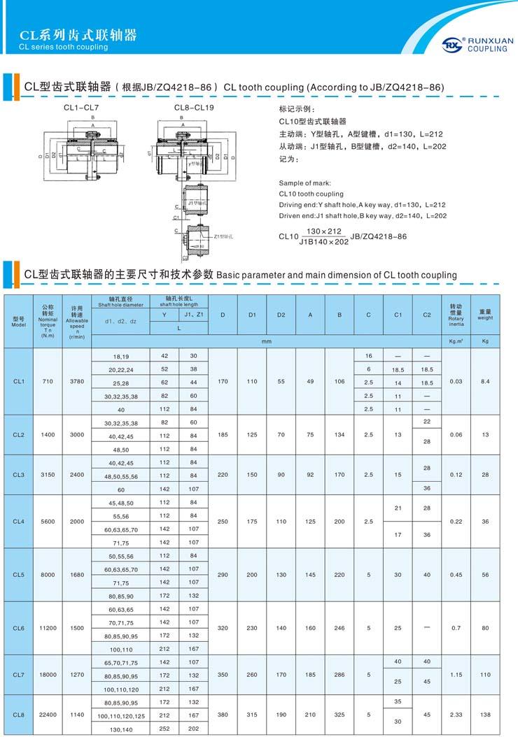 CL系列齿式联轴器参数1